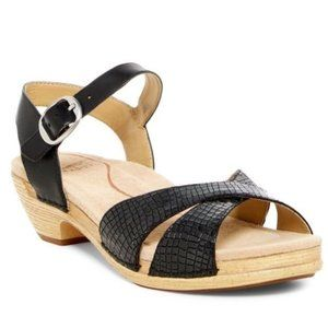 DANSKO Larissa Black Croc Leather Sandals Low Heel